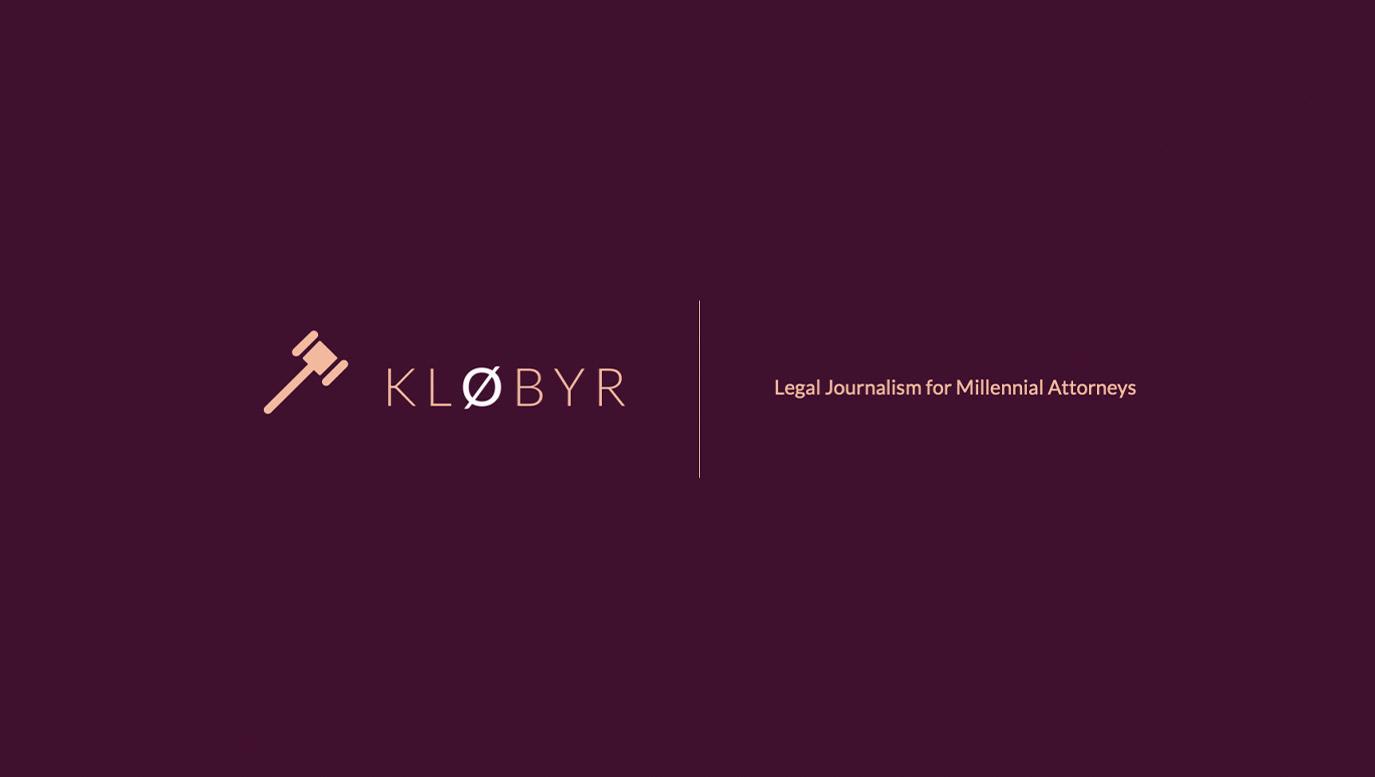 "Slide Design Cover: Klobyr Company logo and tagline reading ""Legal Journalism for Millennial Attorneys."""