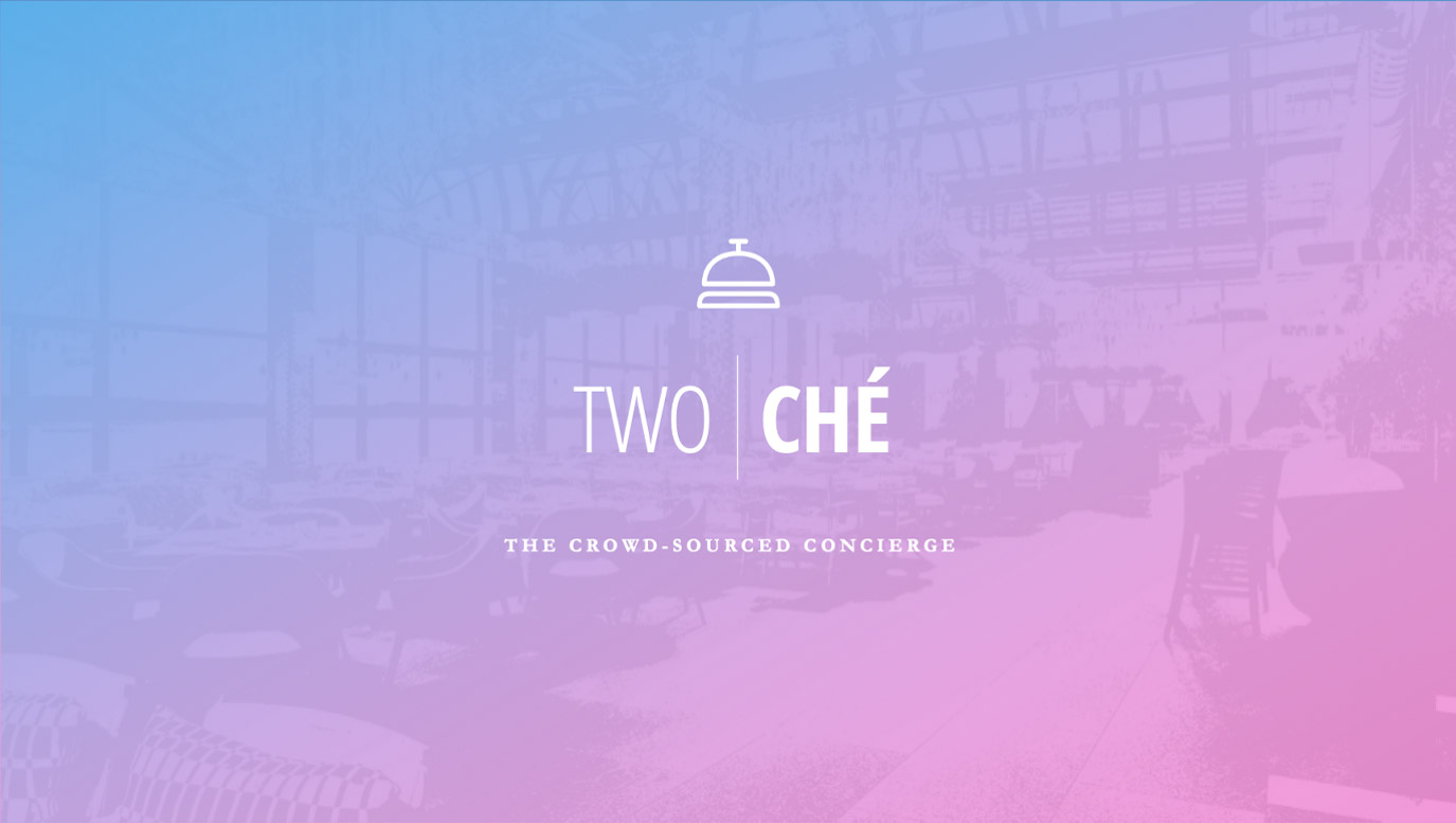 Slide Design samples: Cover with TwoChe logo on faded background image showing interior of restaurant