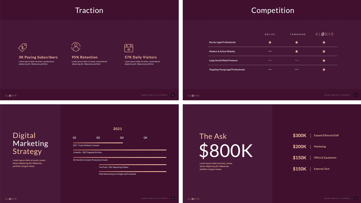 Slide Design samples: Four thumbnails with stats and graphs