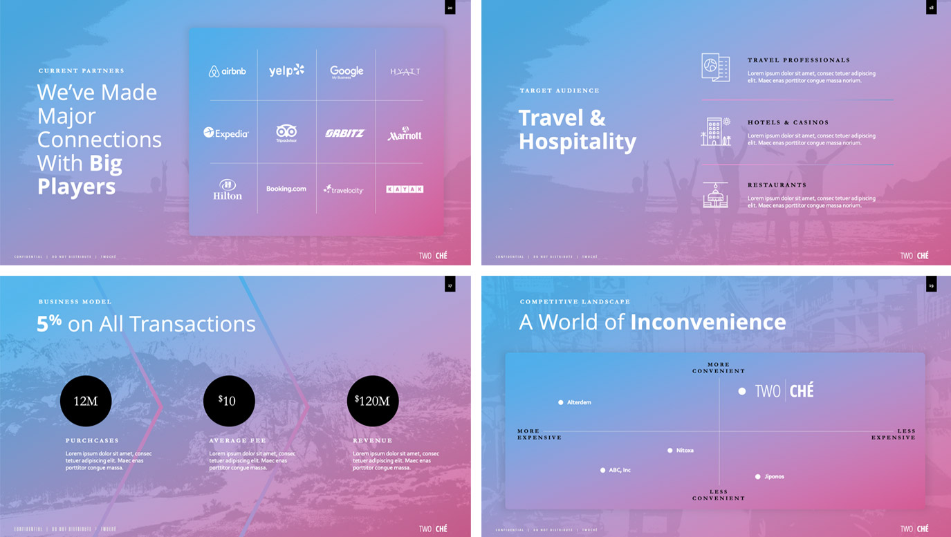 Slide Design samples: four slides showing stats and graphs