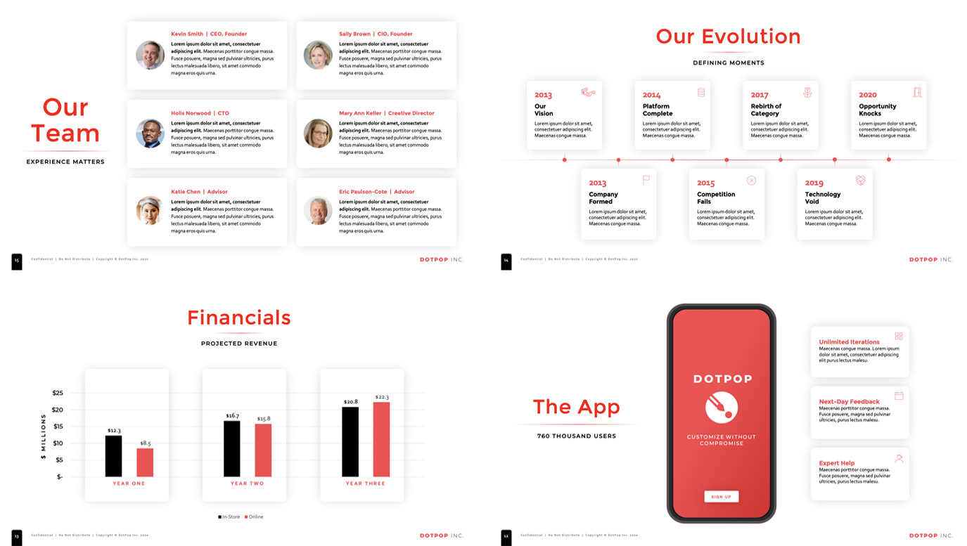 Slide Design samples: four slides showing stats, charts and user interface of startup app.
