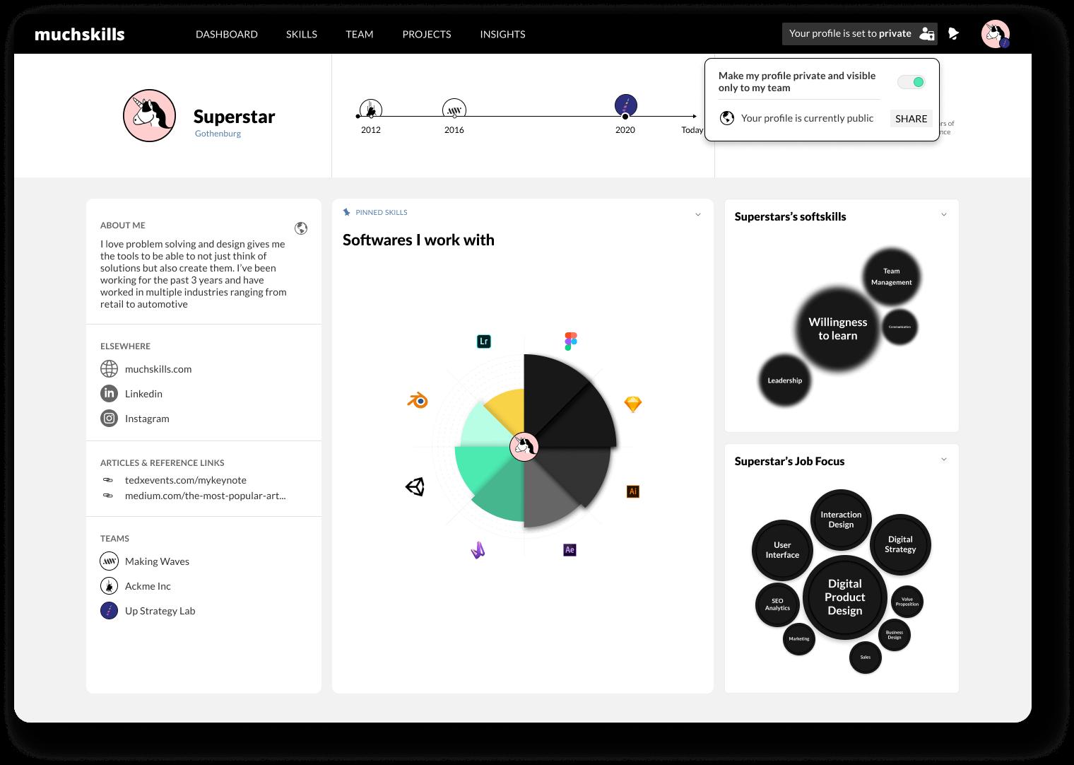 MuchSkills Profile view