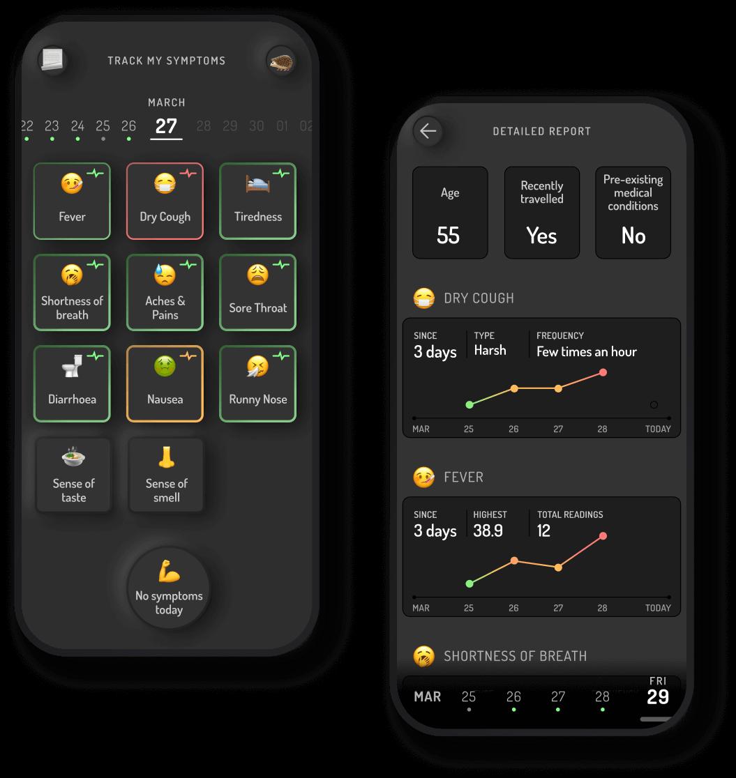 My Symptoms tracking app design