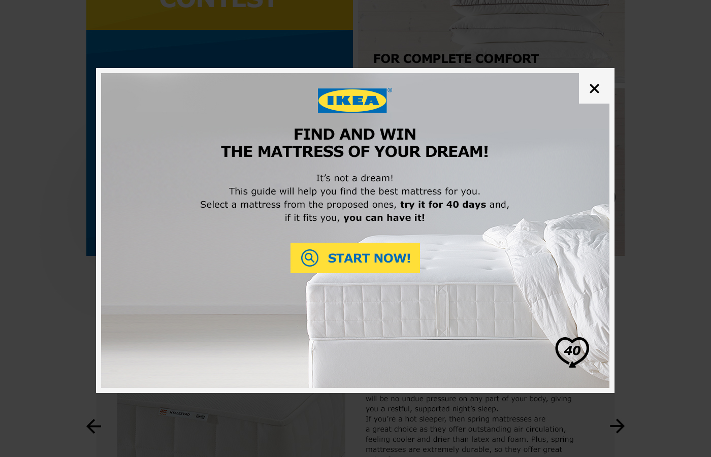 IKEA Mattresses Contest - First Popup Page