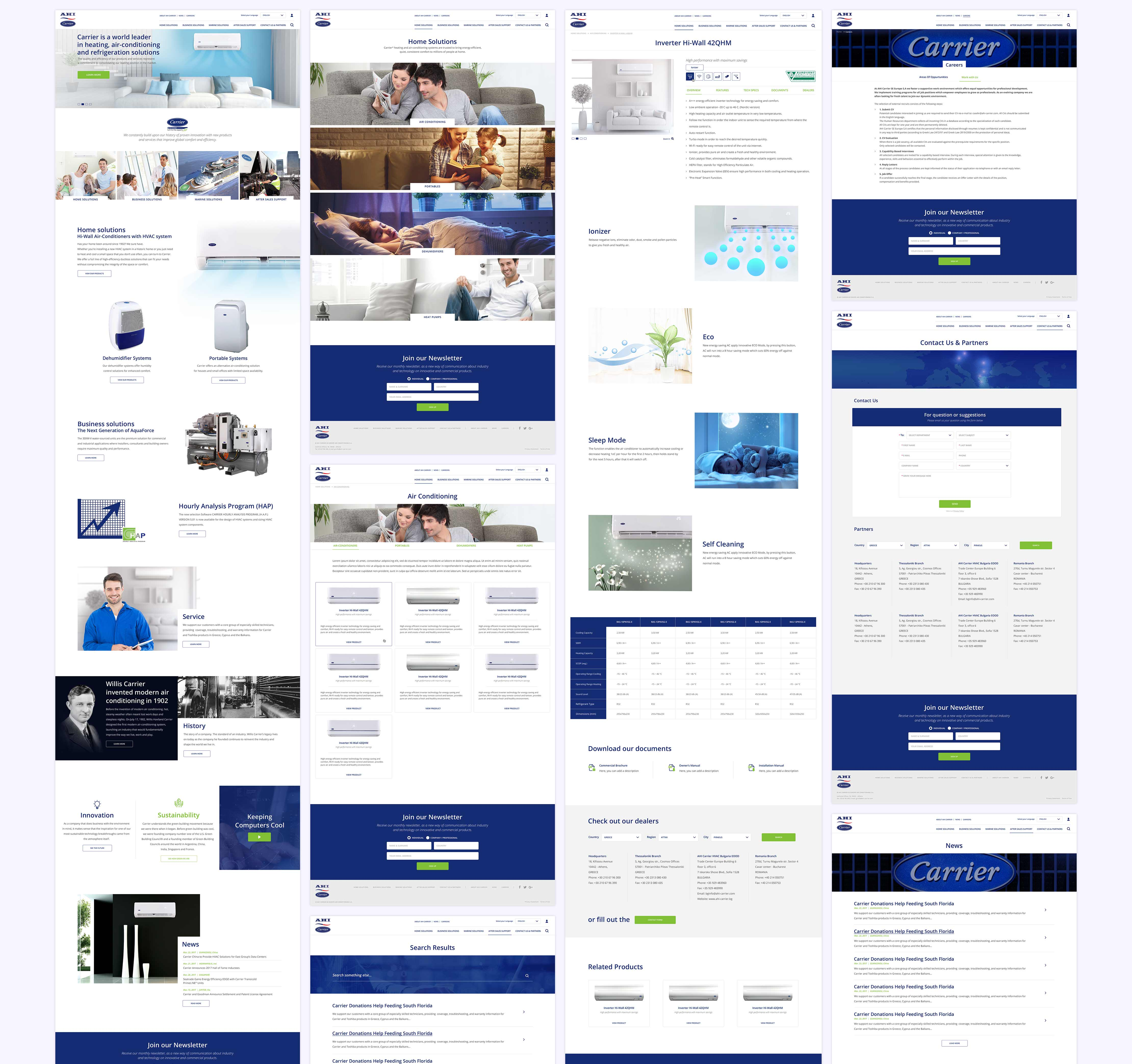 Carrier website pages examples