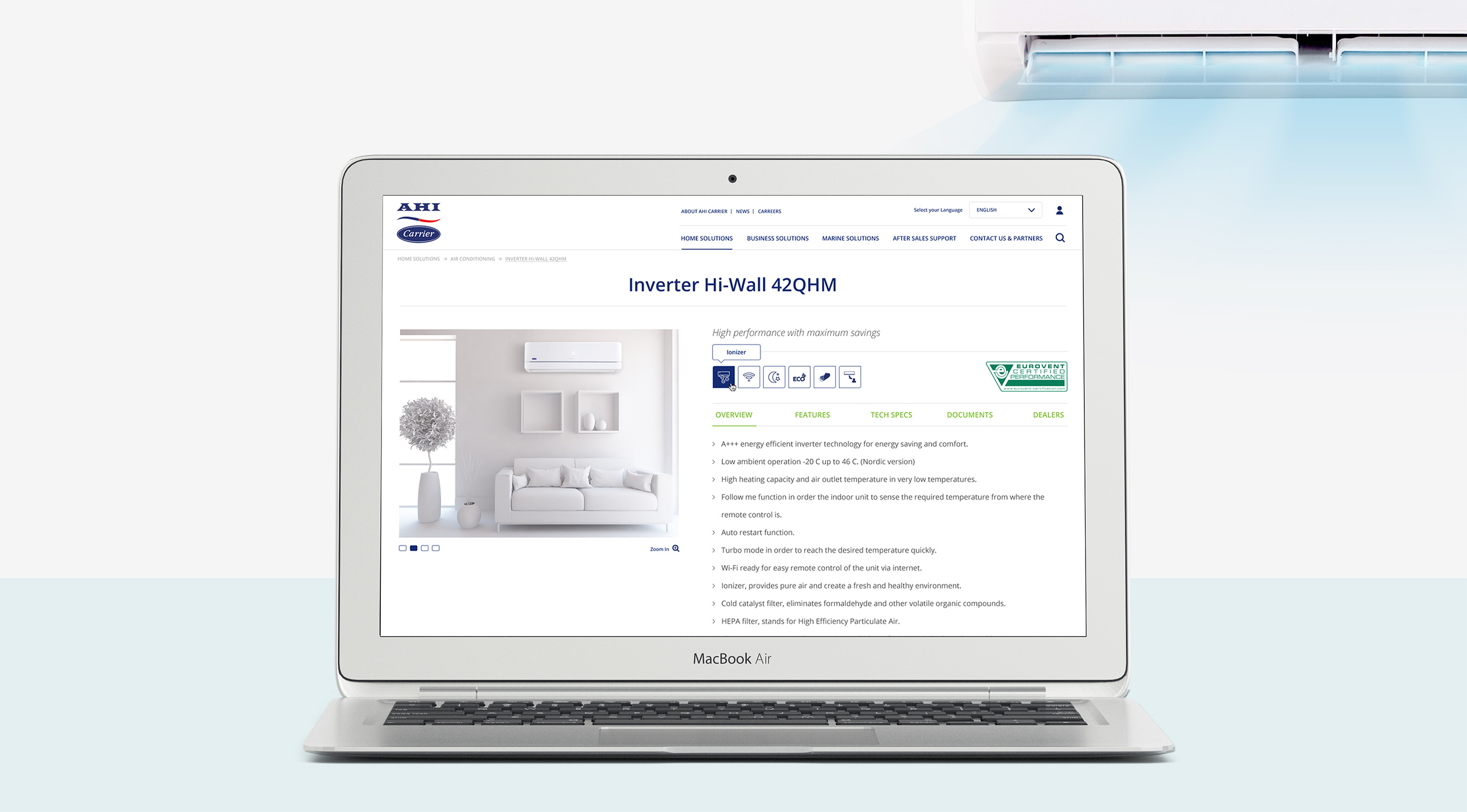 Carrier product page example