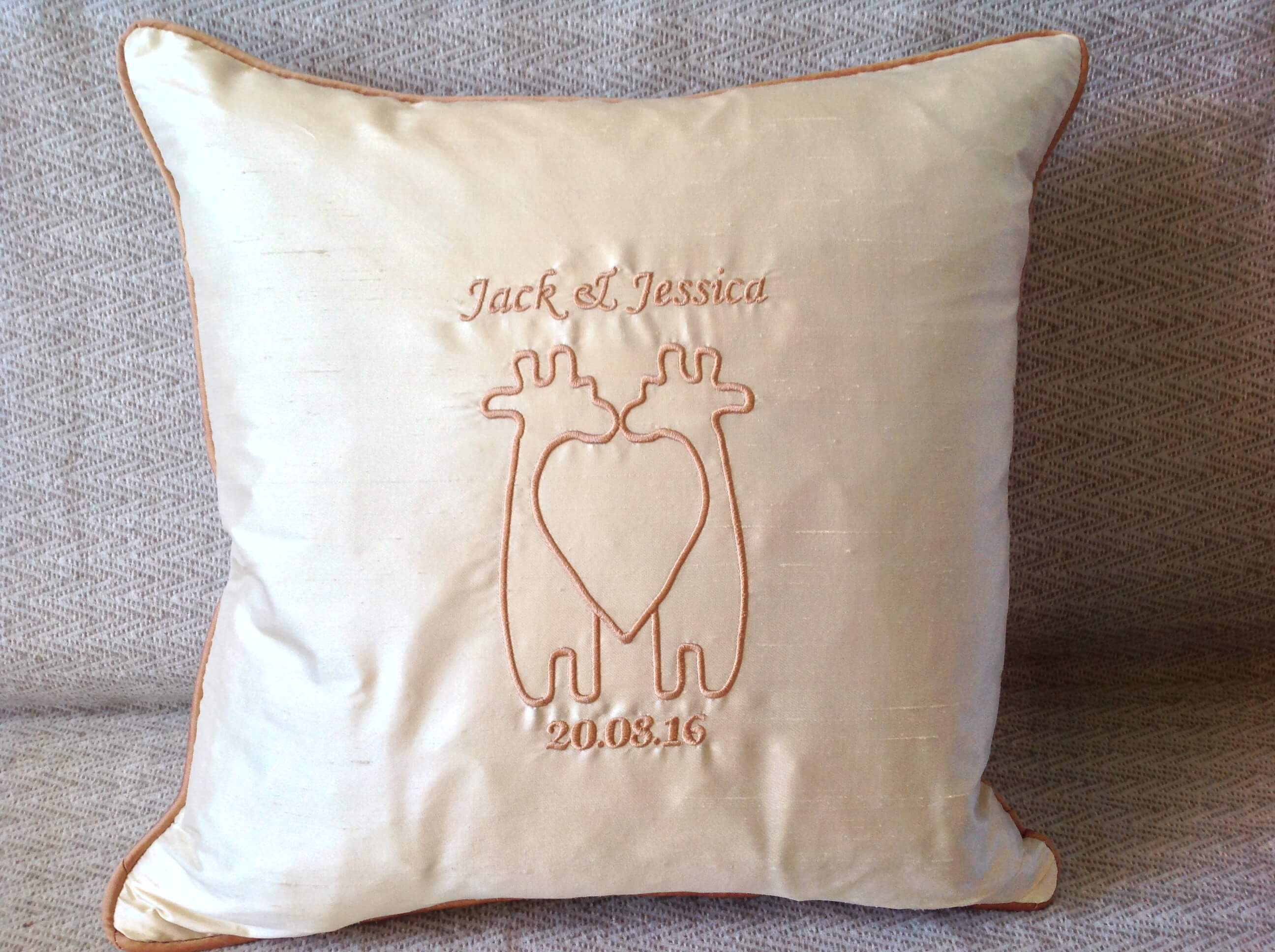 Winning Memories Embroidered Wedding Cushion