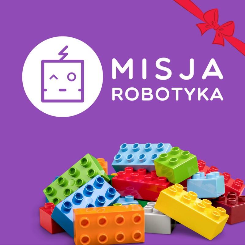 Karta podarunkowa Misja Robotyka można ją wykorzystać na zajęcia warsztaty z robotyki, urodziny z robotami, półkolonie lub kolonie