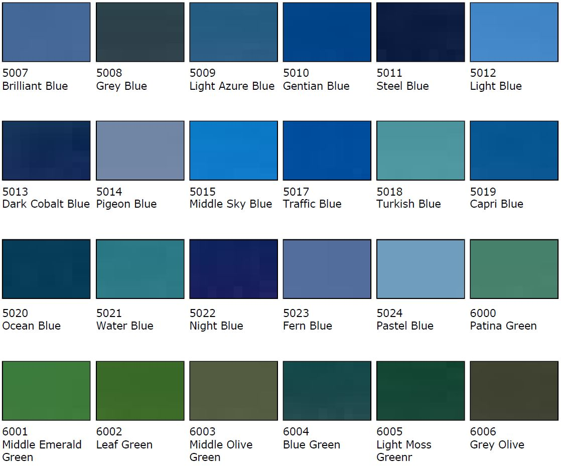 Blue Colour Samples
