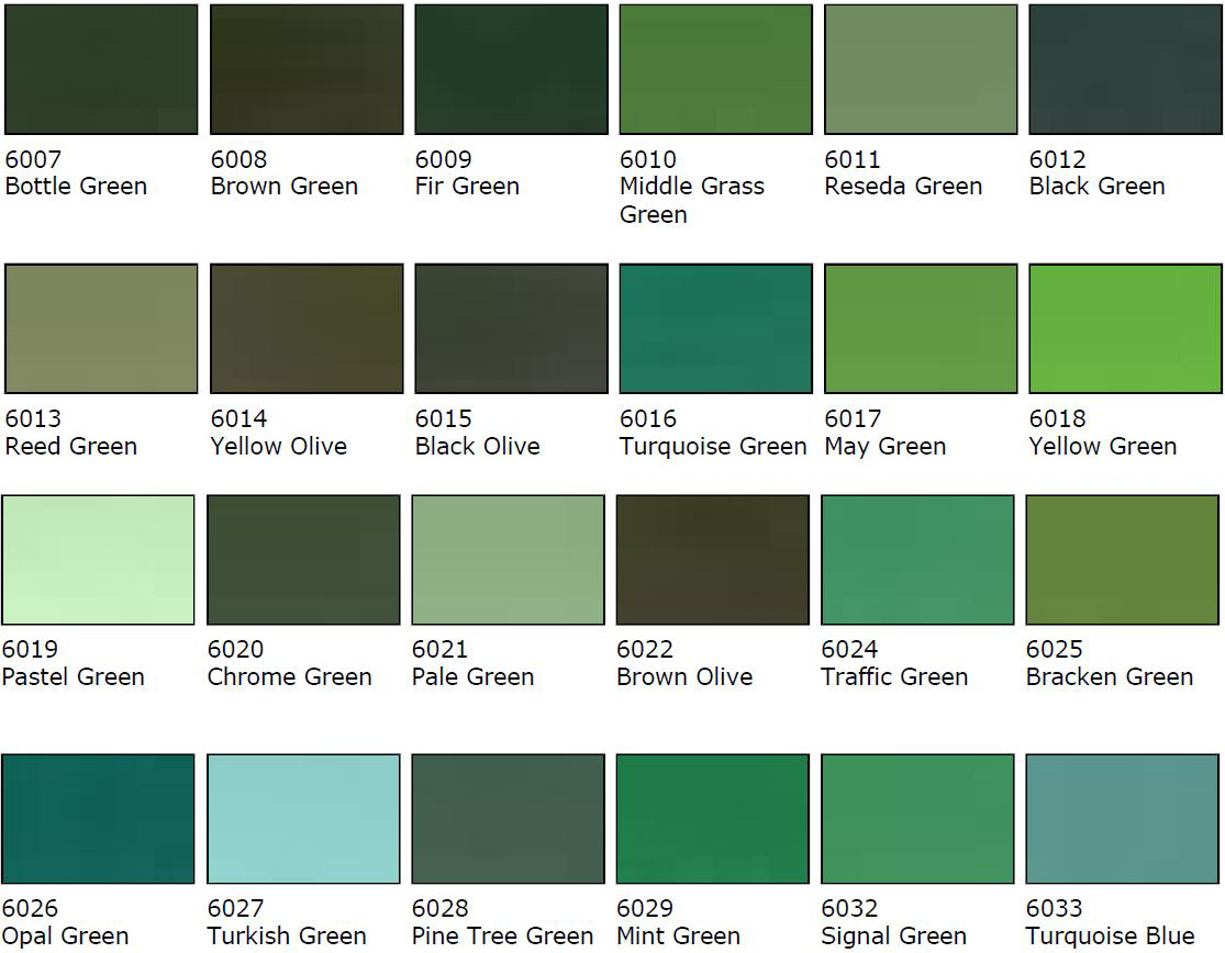 Green Colour Samples