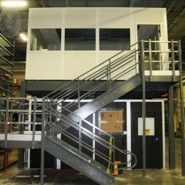 Warehouse mezzanine modular office Industrial With The Use Of Mezzanine Your Warehouse Will Double Its Functionality Without Interrupting Your Floor Space When Paired With Modular Offices The Mezzanine Company Mezzanine Office Space The Mezzanine Company