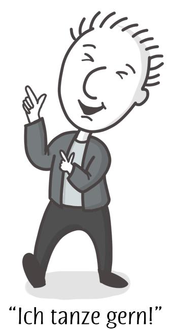 "Cartoon of Jens dancing and saying ""I dance well!"""