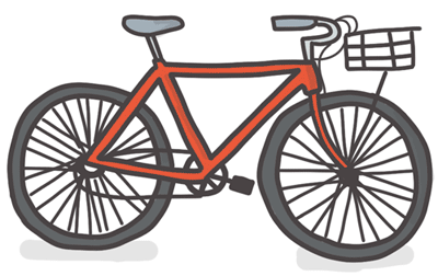 A bike with a flimsy basket