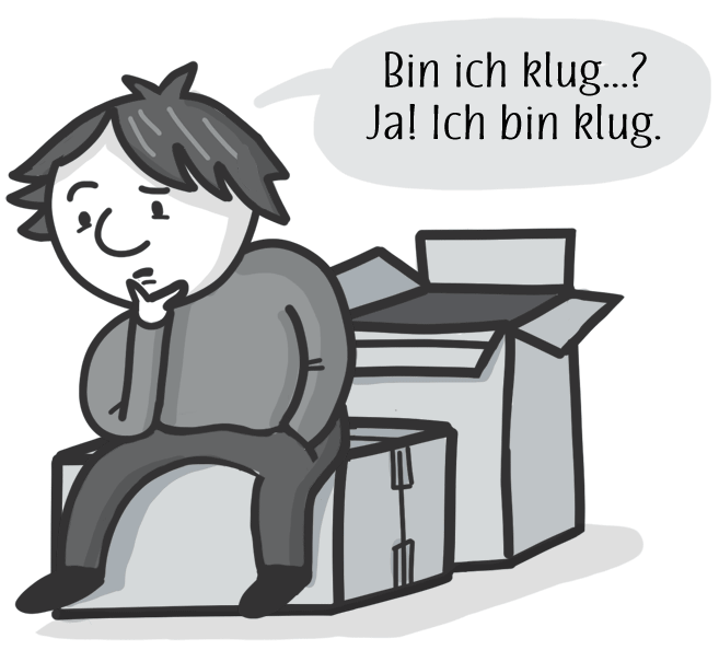 """Cartoon of Otto sitting on a box, wondering (in German) """"Am I smart? Yes! I am smart."""""""