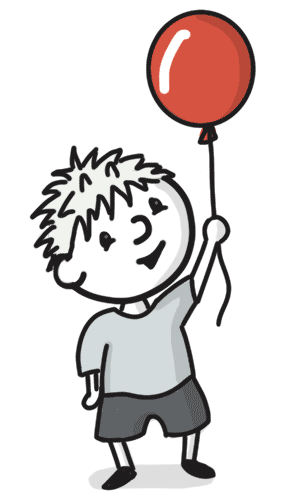 A kid with a red balloon