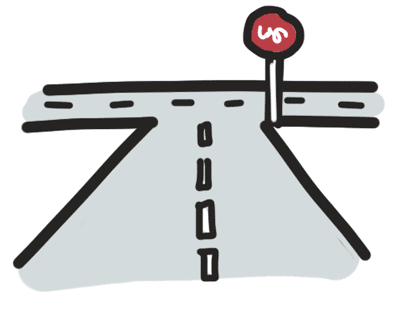 A road with T intersection
