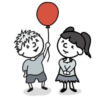 Two kids. One has a balloon. The other wants it.
