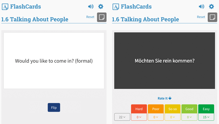 Rocket German flash cards example