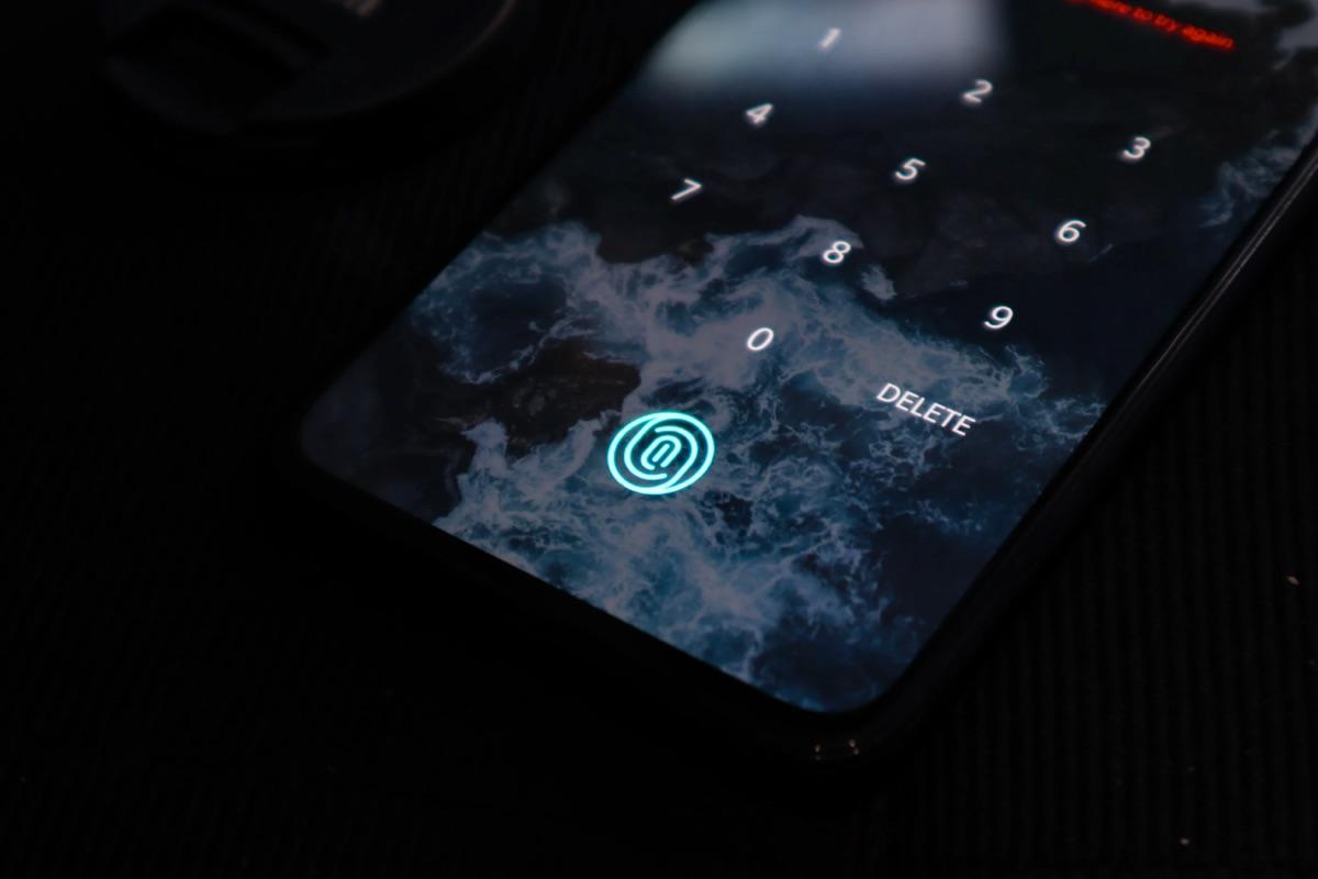 locked smartphone with a dark background