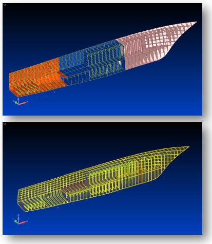 femap, nastran, NonManifold Add, сшивание поверхностей, модель корабля, marine cae