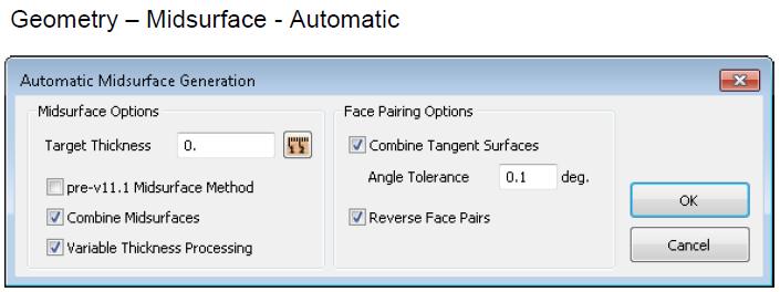 втоматическое извлечение срединных поверхностей с последующим авто-назначением толщин в свойствах КЭ-сетки в Siemens Femap 11.3, nastran, automatic midsurface generation
