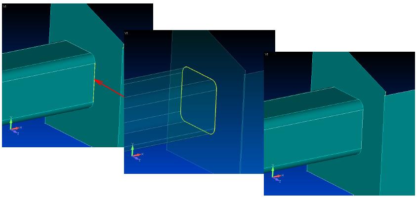 femap, nastran, Автоматическое продление всего контура детали, meshing toolbox