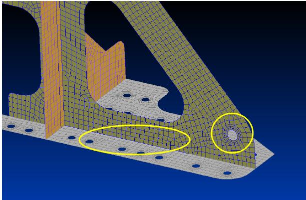 Желтым выделены области,в которых необходимо уточнить сетку конечных элементов, femap, nastran