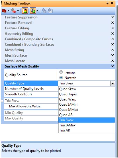 Проверка качества элементов Nastran в панели инструментов Meshing Toolobox в Siemens Femap 11.3