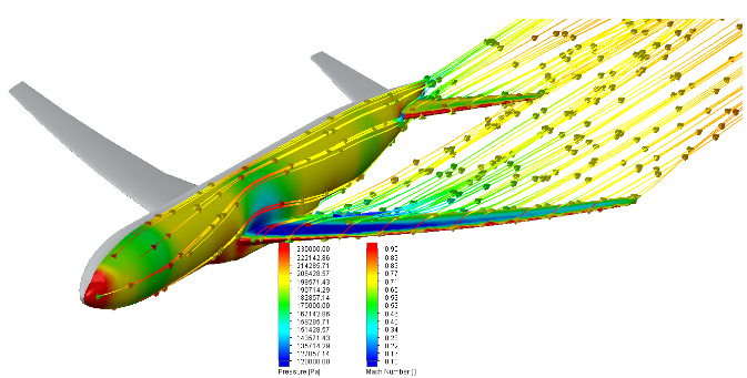 FloEFD Распределение давления потока пропорционально числу Маха