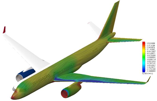 FloEFD Распределение коэффициента давления модели самолета ТУ-214
