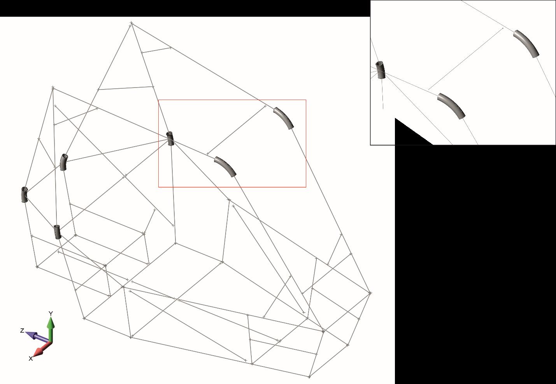 femap 11.4, nastran, использование команды Geometry, Curve Spline, Midspline для построения осевых линий на криволинейных участках модели