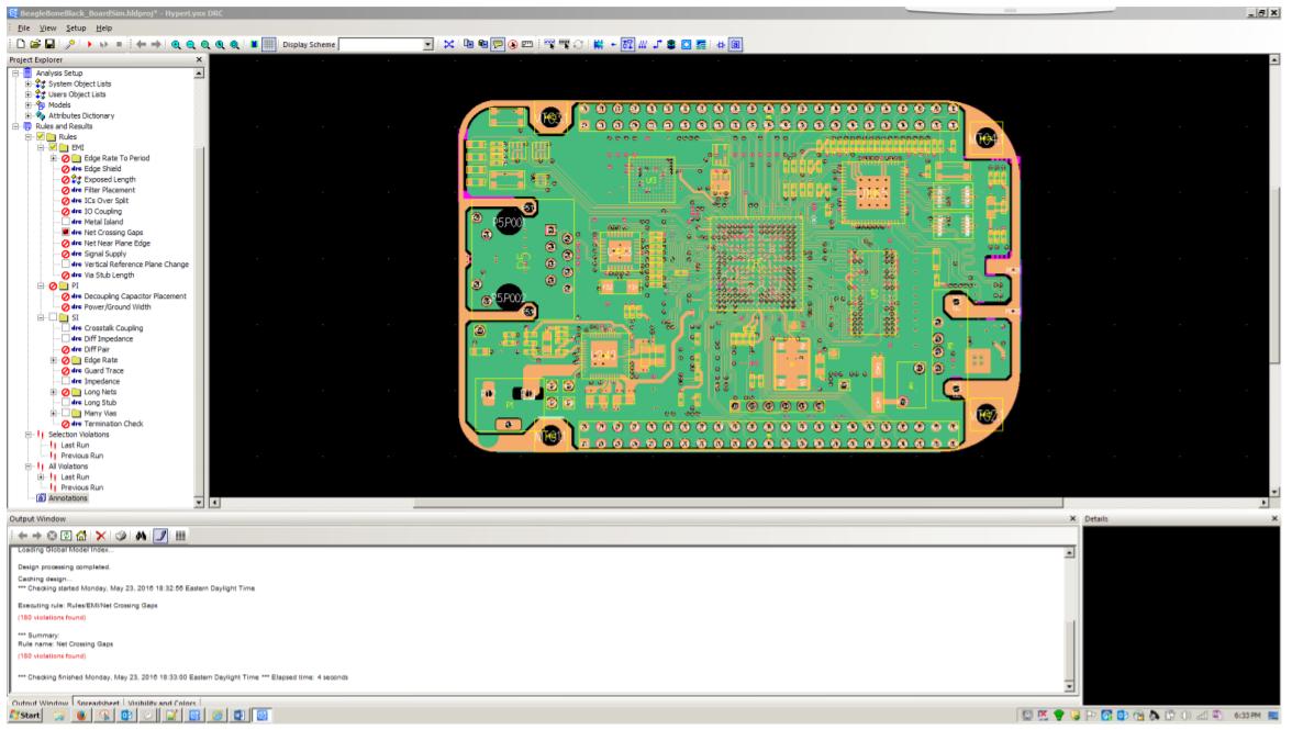 PADS HyperLynx DRC поиск проблем электромагнитной совместимости, целостности сигналов и питания