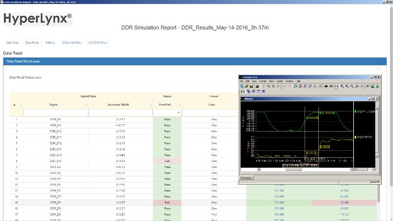 PADS HyperLynx DDR Отчеты включают в себя подробные результаты моделирования