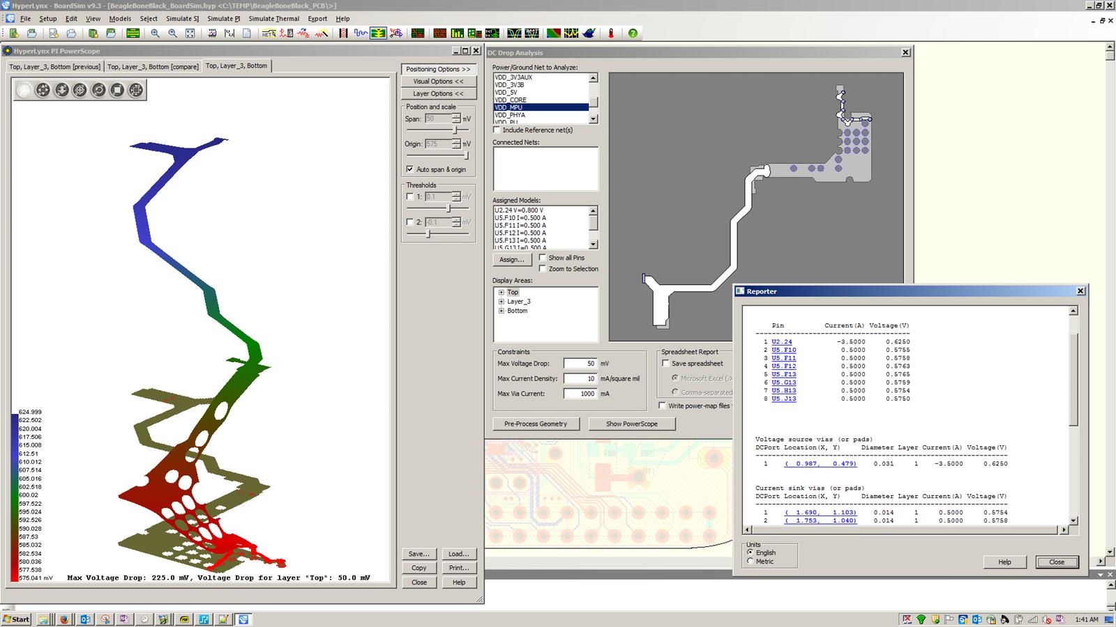 PADS HyperLynx DC Drop позволяет найти проблемы связанные с падением напряжения в цепях питания