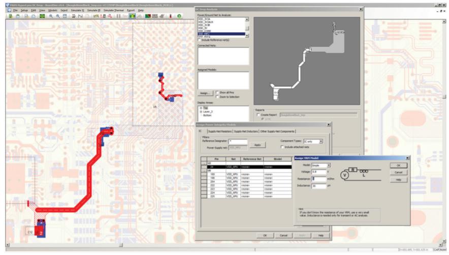 PADS HyperLynx DC Drop Результаты моделирования «подсвечивают» соответствующие компоненты, контакты и переходные отверстия