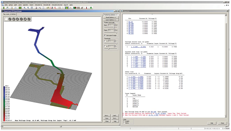 PADS HyperLynx DC Drop В дополнение к графическому результату, пользователю доступен отчет о всех напряжениях и токах на всех выводах и переходных отверстиях вашего PDN