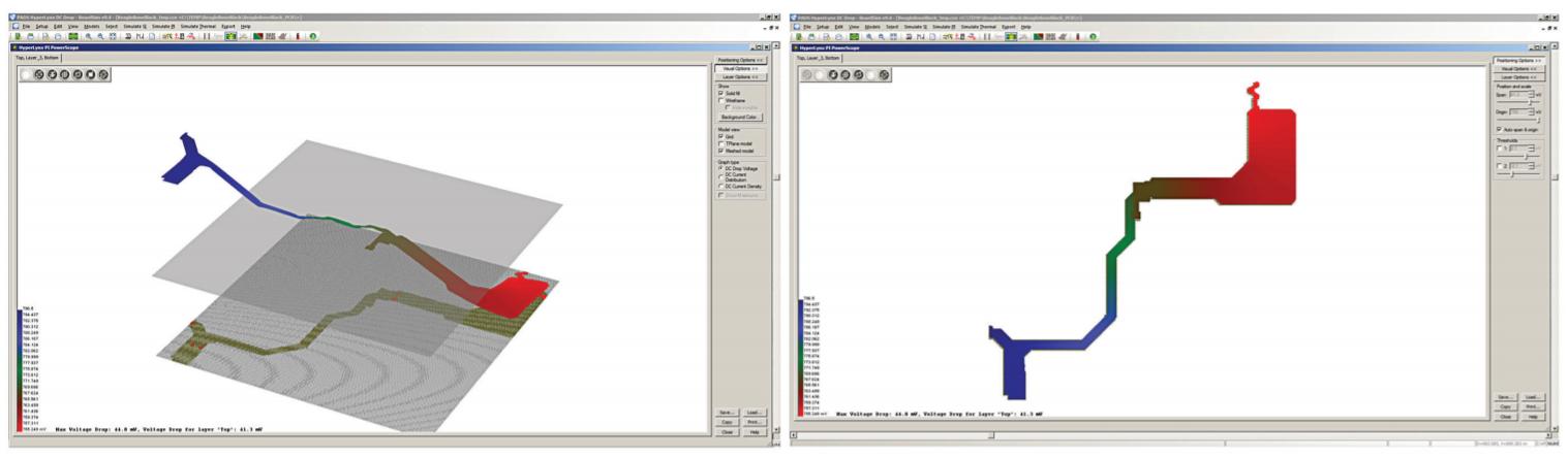 PADS HyperLynx DC Drop Интерактивное отображение области с чрезмерной плотностью тока
