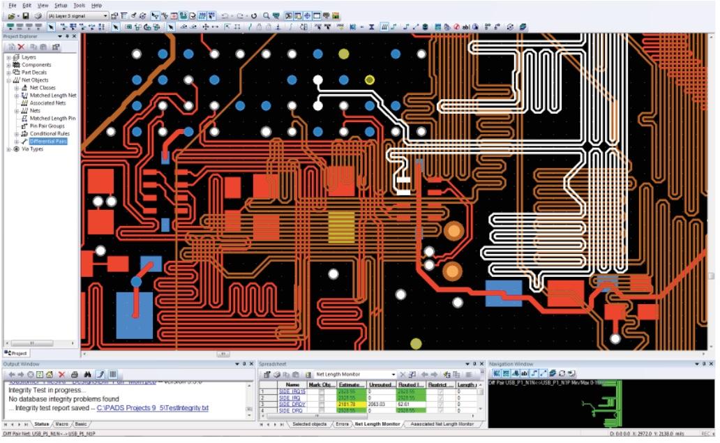 PADS Standard Plus Advanced PCB Layout Соблюдение правил проектирования для дифференциальных пар, включая ограничения по зазорам и длине