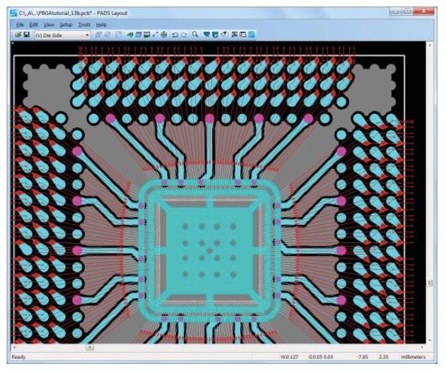 PADS AdvancedPCB Option значительно сокращает время разработки устройств с бескорпуснымимикросхемами.