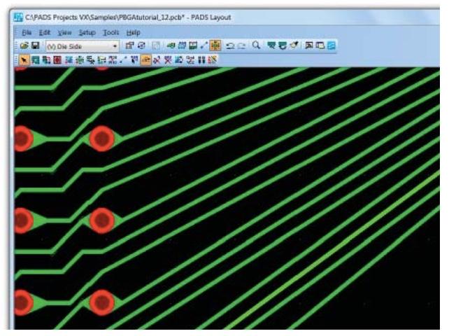 PADS Standard Plus Advanced PCB Интерактивная трассировка под любым углом до контактных площадок на подложке микросхемы
