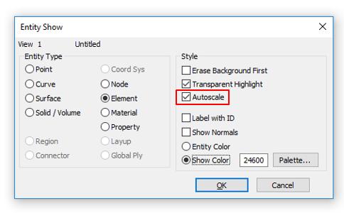 Опция Autoscale в параметрах инструмента Entity Show (Shift+F12)