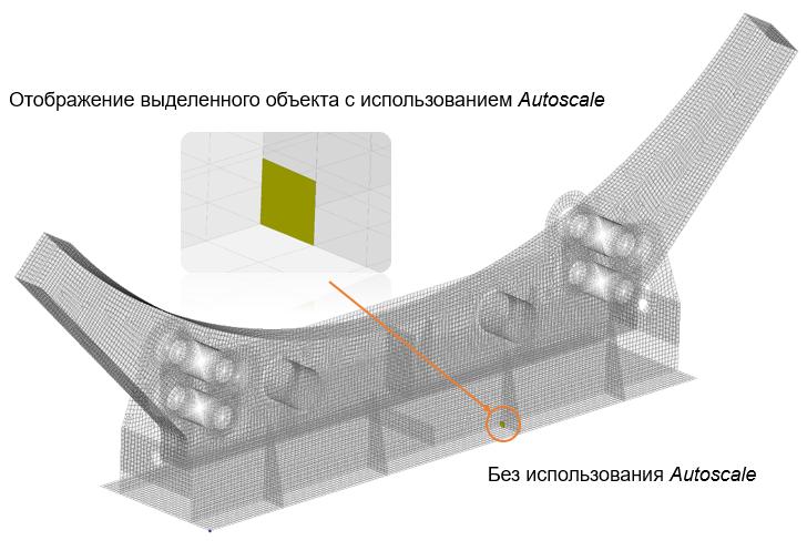 Визуализация выделенного объекта с использованием новой опции Autoscale и без нее