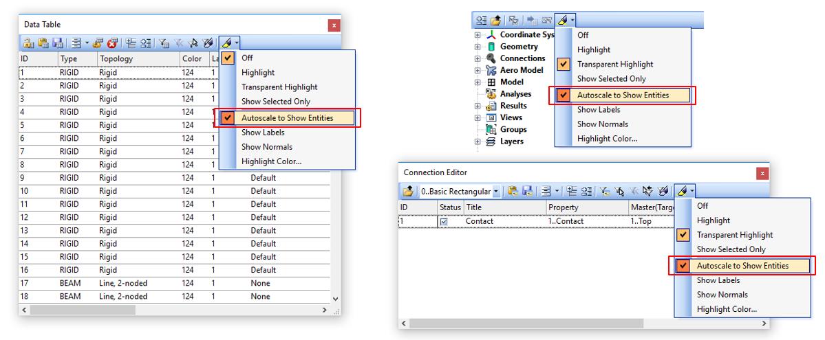 Опция Autoscale также добавлена в таблицу данных Data Table, редактор соединений Connection Editor и панель Show When Selected