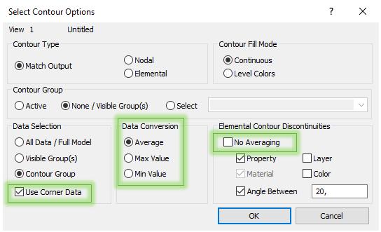 Панель настроек осреднения узловых значений Contour Option, femap, nastran