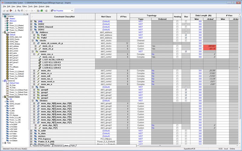 PADS Constraint Management Редактирование ограничений и двунаправленная связь между схемным и топологическим редактором печатной платы