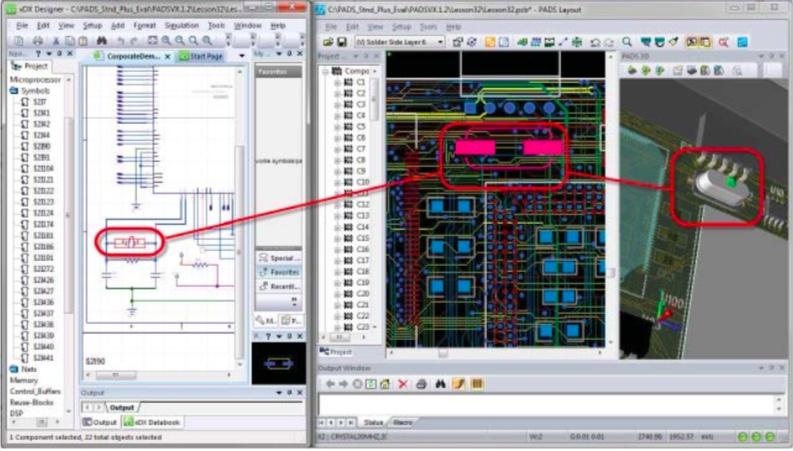 PADS Layout Мощная двунаправленная связь между схематическим и топологическим редактором