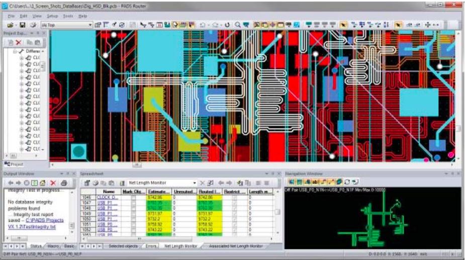 PADS Layout нтерактивная трассировкадифференциальной пары с зигзагообразным шаблоном для контроля длины