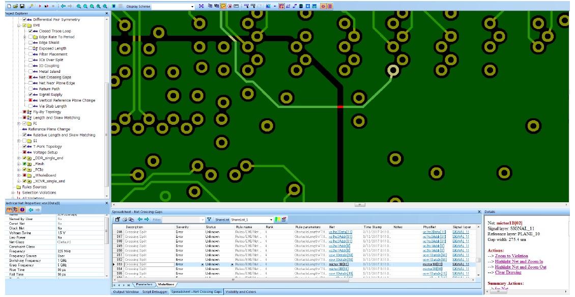 HyperLynx DRC позволяет выполнить проверку правил проектирования на проблемы совместимости/электромагнитных помех (EMI / EMC), целостности сигналов и питания