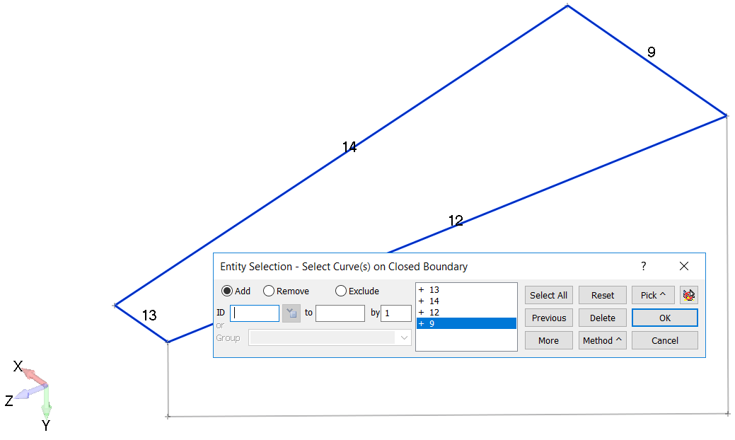 Femap Выбор кривых для создания первой граничной поверхности