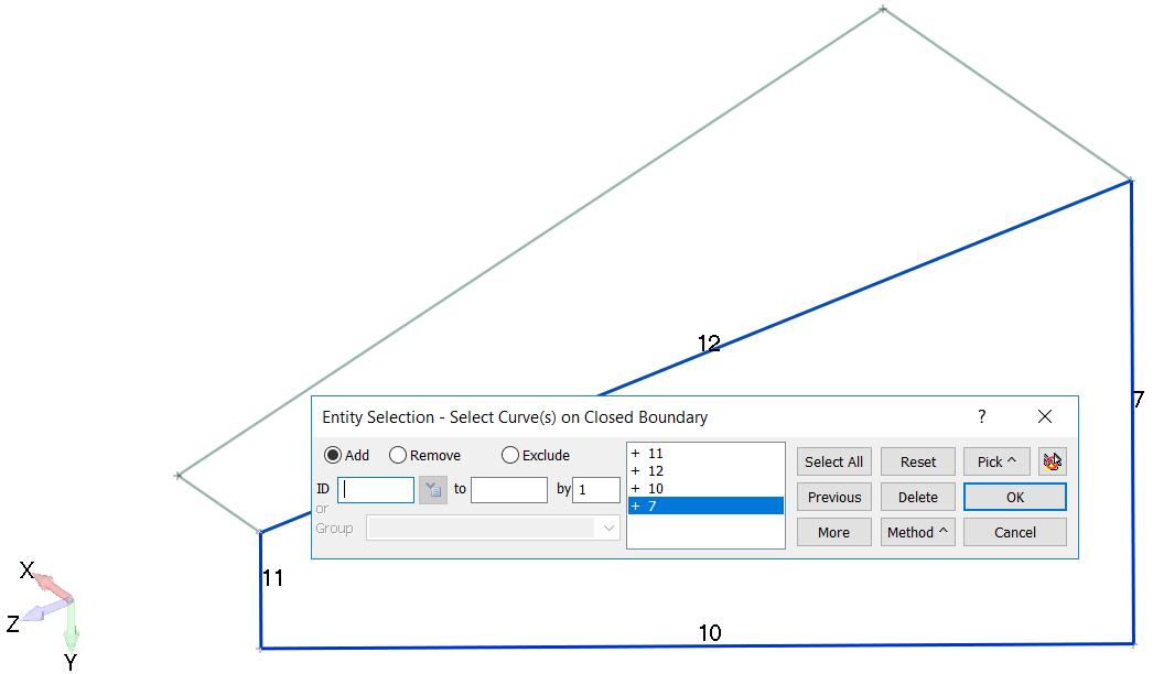 Femap Выбор кривых для создания второй граничной поверхности